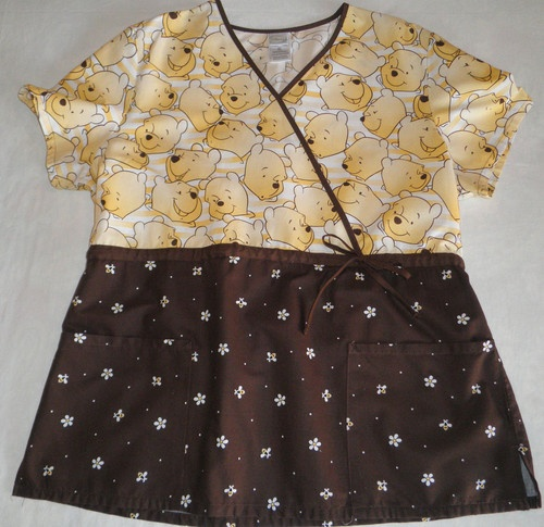 Medical Scrubs - Disney Winnie the Pooh Mock Wrap Scrub Top Brown/Yellow/Tan $9.99