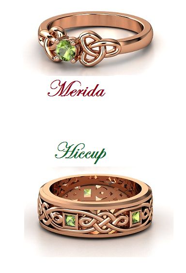 merida ring | Merida and Hiccup Wedding Rings by DarkMousyxKagome// Never seen Brave and I love HTTYD. Anyway, I love the style of these rings❤️.//