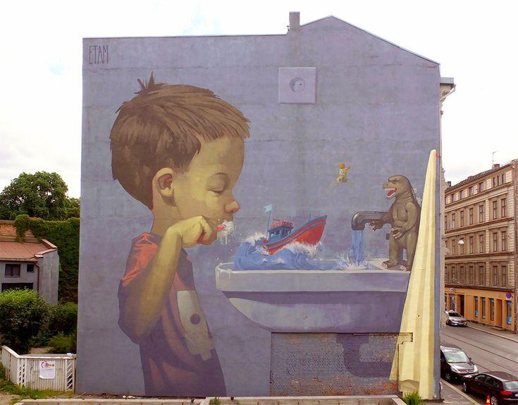 Nouvelles Peintures Murales de Etam Cru dans les Rues d'Oslo et de Montréal