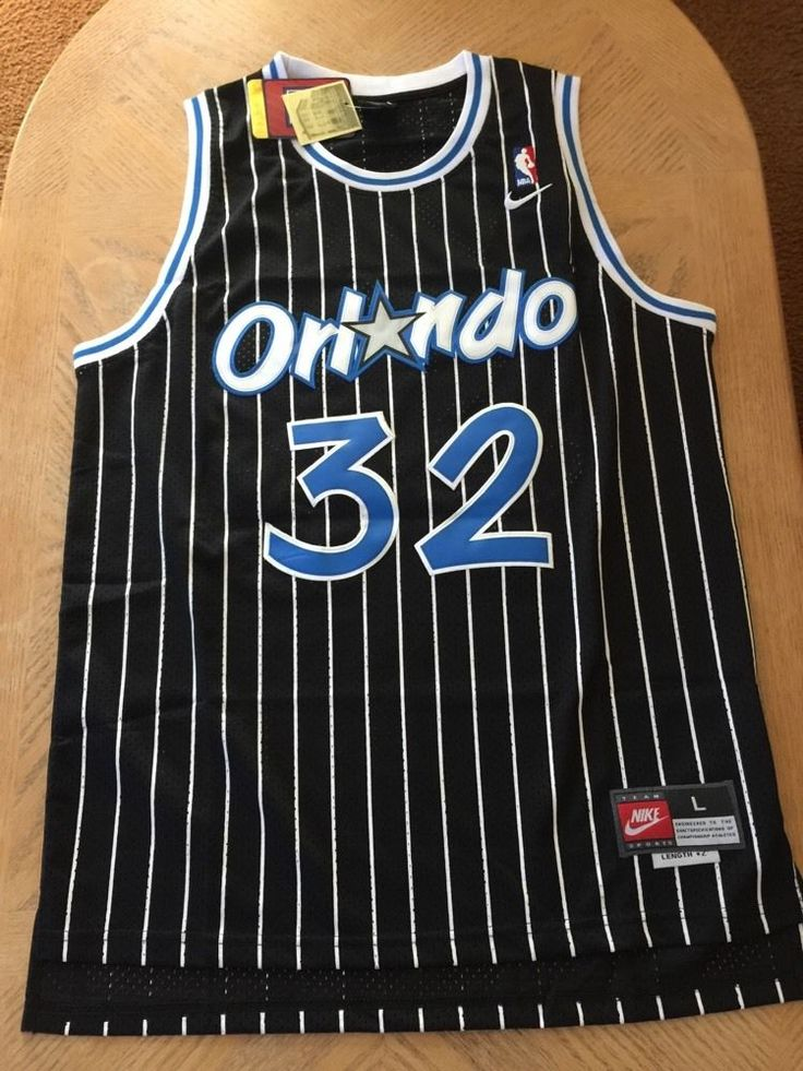 retro new shaquille o'neil nba basketball black orlando magic jersey l from $39.98