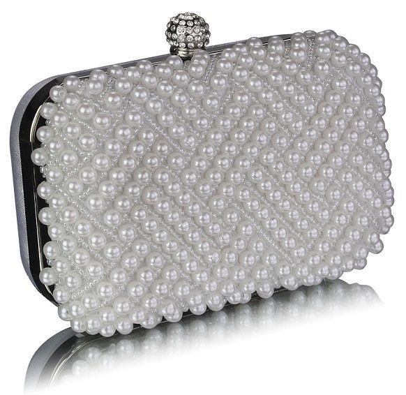 LS Bags bílé perličkové psaníčko, dárkové balení