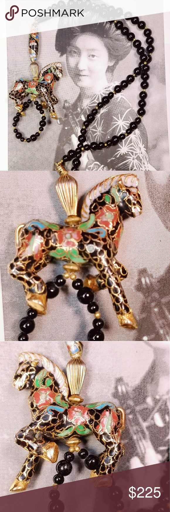 "Vintage cloisonne horse and black onyx necklace Vintage figural Chinese export Black onyx and gold tone beaded necklace adorned with a cloisonne bead and horse. Necklace measures around 22"" with 4.5"" center drop. Horse measures 2.25"" tall and 2"" wide. Screw clasp is sturdy and in good working order. Excellent vintage condition. Reasonable offers welcome and accepted. Add to a bundle and I'll offer you a great deal ❤ Vintage Jewelry Necklaces"