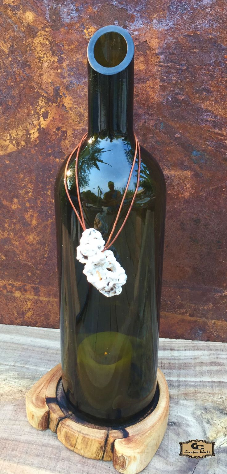 Wine Bottle Candle Holder - Mazzei Badiola Toscana Italian wine. Top edge  angled cut,