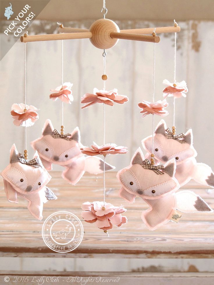 Light pink fox mobile baby girl mobile baby girl nursery for Unusual baby mobiles