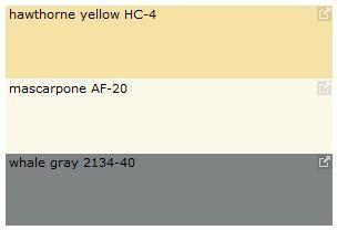 Exterior Color Palette Idea? Top Color: Body,  Middle: Trimming, Bottom: Bermuda Shutters.  Benjamin Moore Summer Colors