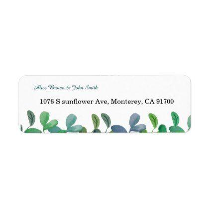 Greenery Botanical wedding return address label - return address labels label diy personalize cyo unique design custom