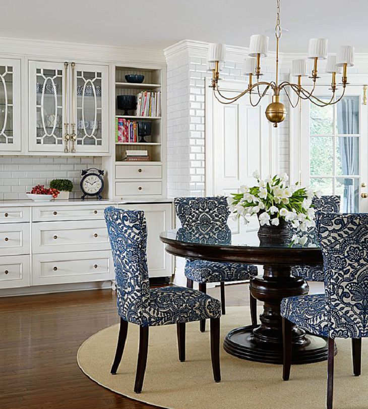 Appealing Dining Room Chairs Dark Color Leg White Blue Pattern Dining Chair Dark Color Wooden Raouded Dinin Round Dining Room Dining Chair Design Dining Chairs #patterned #living #room #chairs
