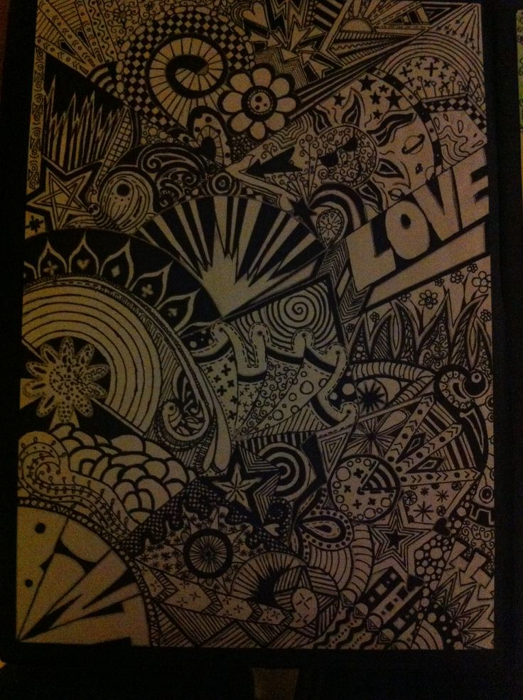 Black and white A4 zentangle