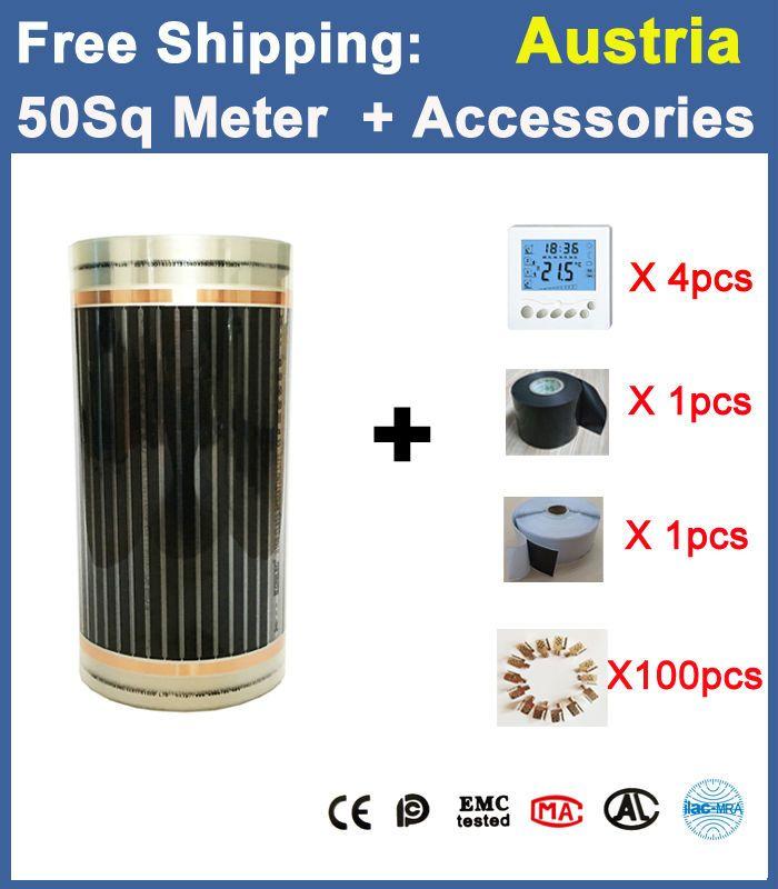 Envío Libre de Austria AC220V 50m2 película Calefacción Eléctrica Por Suelo Radiante Con Accesorios 0.5 m x 100 m Infrarrojos de Calor Radiante película