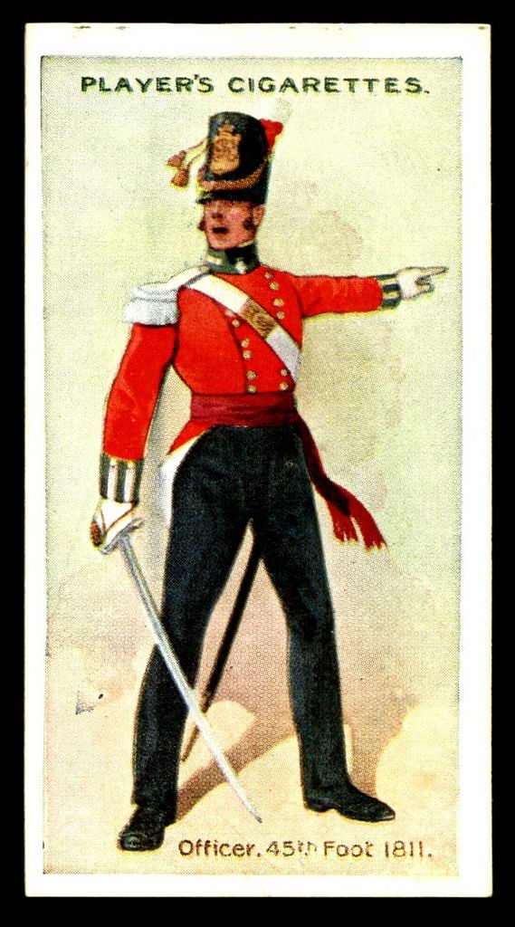 """#33 - 45th Foot-Officer, 1811 - Player's Cigarettes, """"Regimental Uniforms"""" (series of 50 with Brown Backs issued in 1914) 