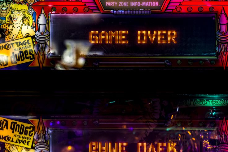 WIP - Bartronica Reshot the Game over signage on the pinball machines. I shot from the bottom of the machine up rather than downwards. This worked out a lot better.