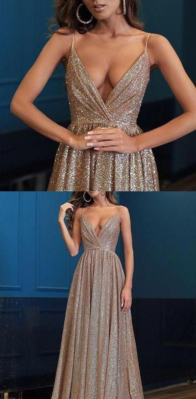 Spaghetti Straps V Neck Fairy Sparkly Sequin Modest Prom Dresses, long evening dress G475