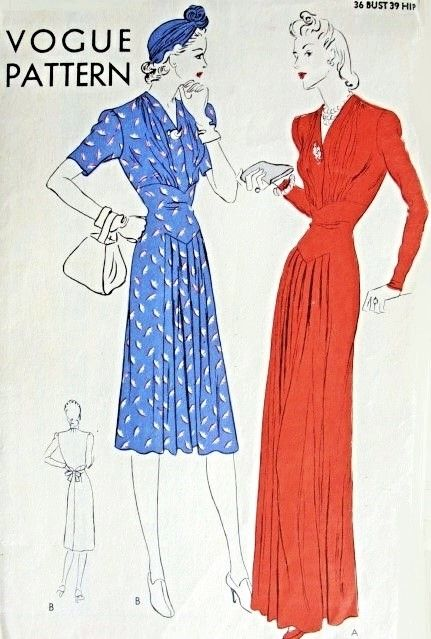 1930s Gorgeous Evening Gown or Cocktail Dress Pattern Vogue 8538 Beautiful Gathered Bodice Stunning Late Thirties Style Bust 36 Vintage Sewing Pattern