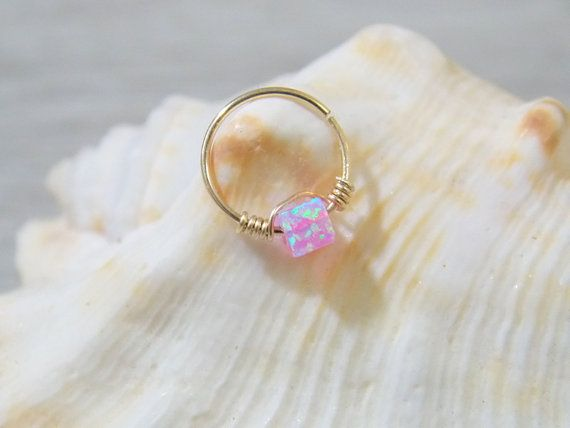 This listing is for ONE tiny dainty 14k gold filled hoop with tiny 3mm loose Fire Opal bead.  size:  gauge: 22g/20g. inner diameter :8mm.  Color