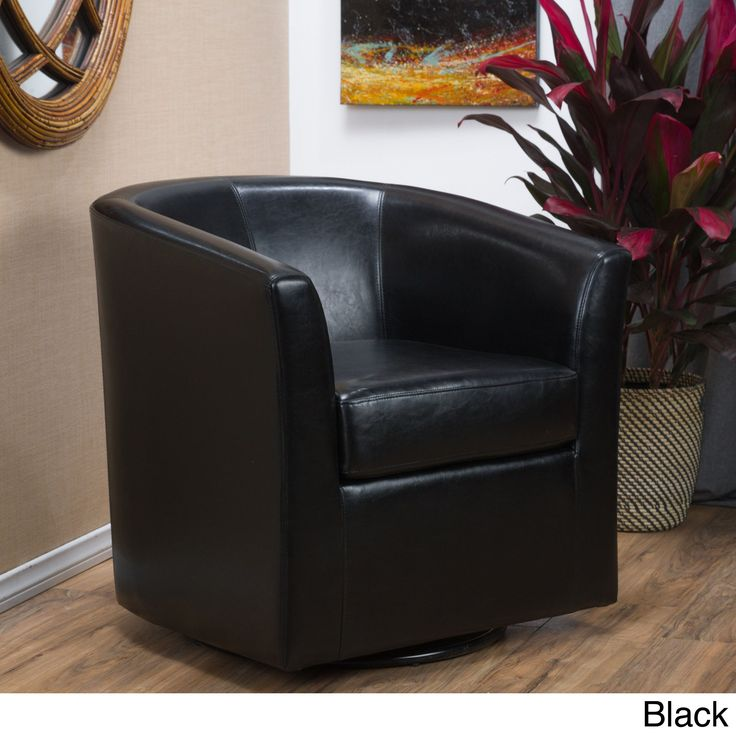 Daymian Faux Leather Swivel Club Chair by Christopher Knight Home (