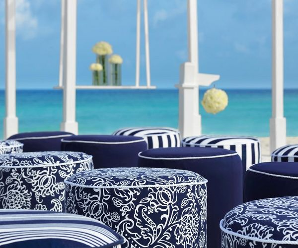 Navy and white guest seating for outdoor beach wedding in Mexico | Nautical Collection at Palace Resorts #destinationwedding