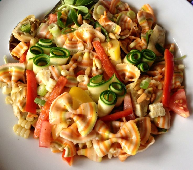 Pasta salads, though not traditionally Italian, still have a place! This one is made with our Marella Farfalline Arcobaleno pasta!