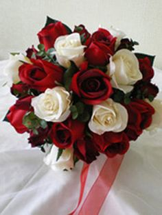 Red and White rose Bouquet (quinceanera decorations red)