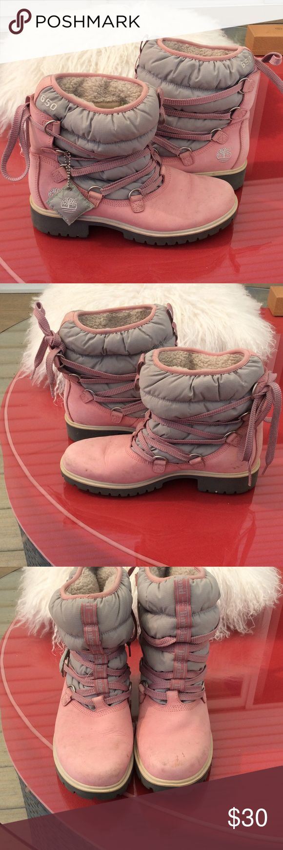 Timberland pink suede boots super cute Timberland pink and gray boots the toes have some marks but a lot of life left in them. 9/20/17 Timberland Shoes Ankle Boots & Booties