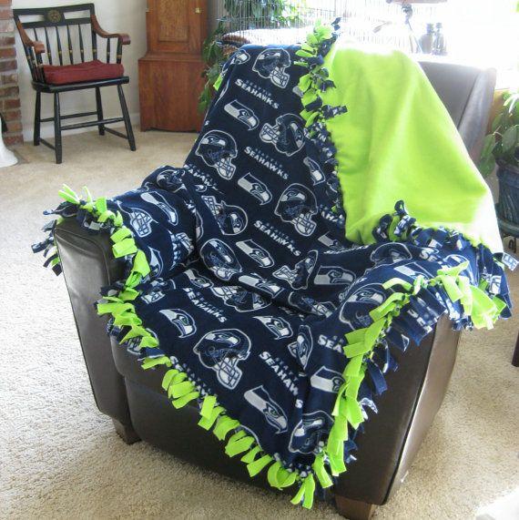 NFL Seattle Seahawks Fleece Hand Tied Large Blanket / Throw on Etsy, $50.00