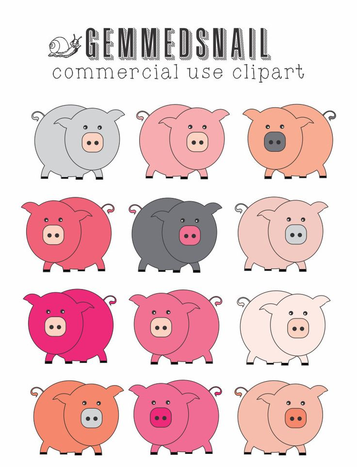 Pig clipart, Pink pig clip art, 12 gorgeous pink pigs! Transparent png files of pigs in different shades of pink and greys