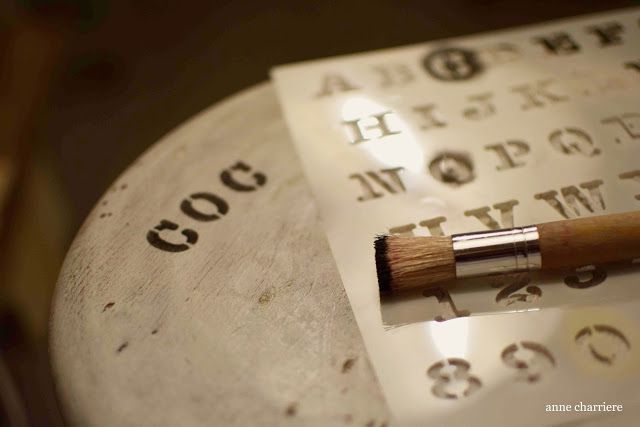 www.annecharriere.com, milk paint, antique watchmaker stool,