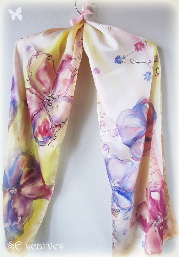 Hand painted silk scarf. Satin scarf. Aquarelle flowers by SEscarves, €38.00
