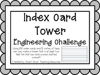 Index Card Tower: Engineering Challenge Project ~ Great STEM Activity!  $