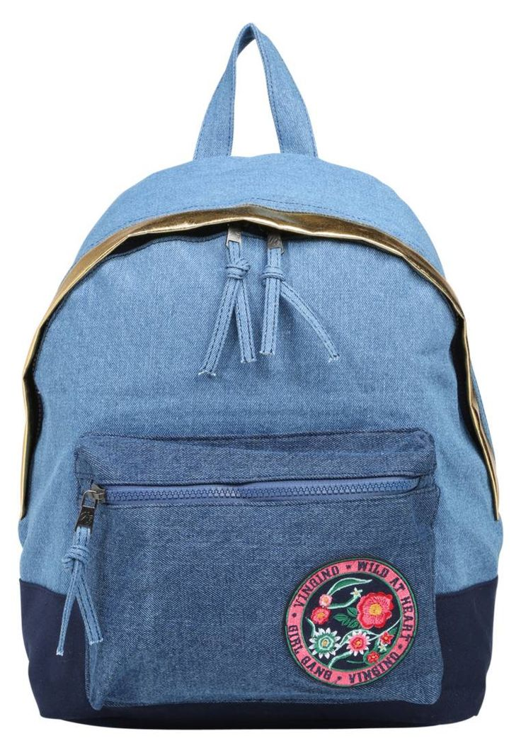 """Vingino. VLIN - Rucksack - light denim blue. Fastening:Zip. Compartments:mobile phone pocket. length:13.5 """" (Size One Size). width:5.5 """" (Size One Size). Lining:Polyester. carrying handle:4.0 """" (Size One Size). Fabric:Denim. Outer material:po..."""