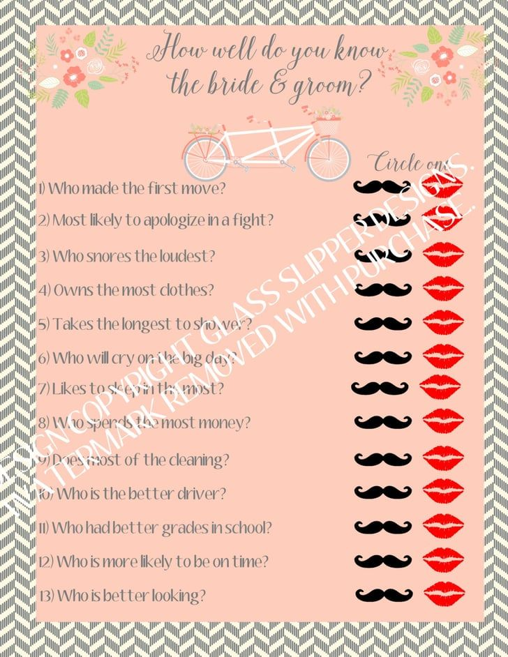 Pin for Later: 57 Affordable Bridal Shower Products That Are Too Cute to Pass Up How Well Do You Know the Bride and Groom? Game How Well Do You Know the Bride and Groom? Game ($8)