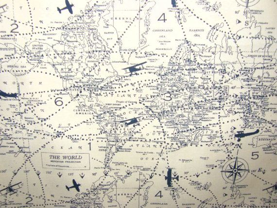 Best 25 map fabric ideas on pinterest travel theme nursery reserved for tarao 2 yards of world map fabric panel with old airplanes flying all over in creme and gray gumiabroncs Image collections