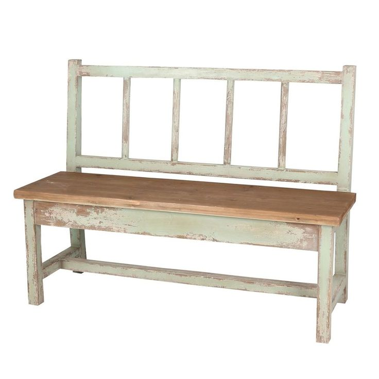 Naturalist Shabby Chic Outdoor Distressed Wood Garden Bench,50''L. #Unbranded