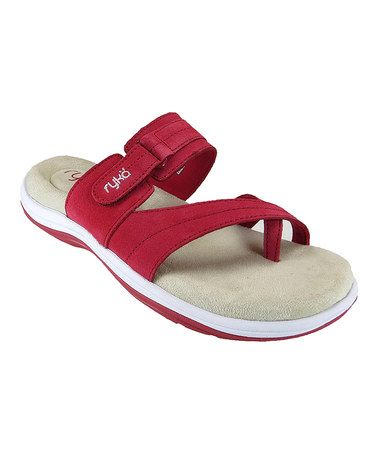 Loving this Chili Pepper Red Cozi Toe Loop Suede Sandal on #zulily! #zulilyfinds