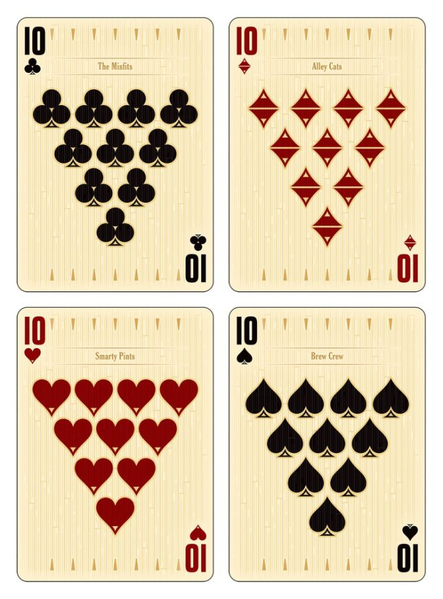 Midnight BOWL-A-RAMA Playing Cards by Randy Butterfield: Tens | more here: http://playingcardcollector.net/2015/04/02/midnight-bowl-a-rama-playing-cards-by-randy-butterfield/
