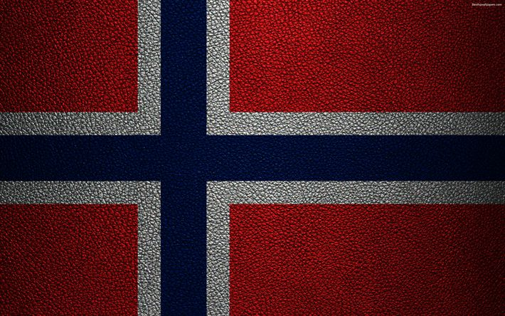 Download wallpapers Flag of Norway, 4k, leather texture, Norwegian flag, Europe, flags of Europe, Norway