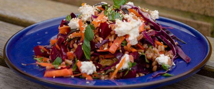 Beetroot farro honeyed walnut super salad - recipe courtesy of Allison Grech, APD.