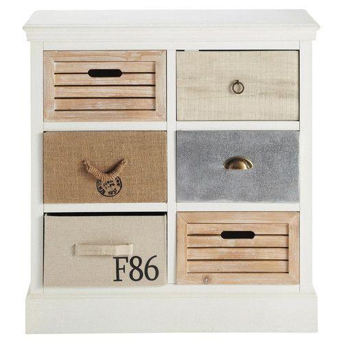 Witte houten ladekast B 80 cm