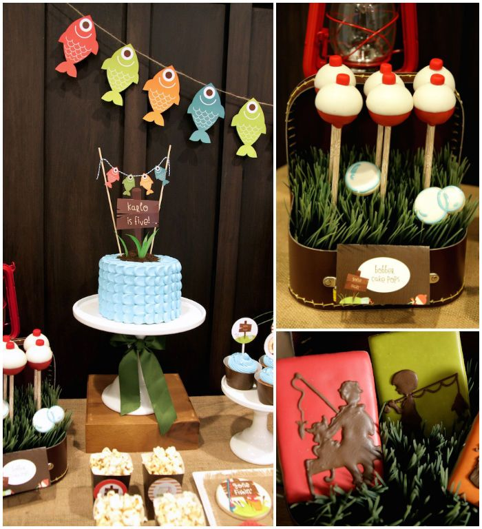 Gone Fishing themed birthday party via Kara's Party Ideas KarasPartyIdeas.com   Cupcakes, favors, recipes, desserts, and more! #fishingparty...