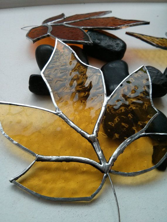Stained Glass Autumn Sycamore Leaf by AlphaCraftsDerry on Etsy