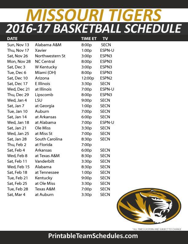 Missouri Tigers Basketball Schedule 2016-17.  Print Here - http://printableteamschedules.com/NCAA/missouritigersbasketball.php