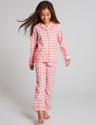 Pure Cotton Checked Pyjamas (1-16 Years)   M&S