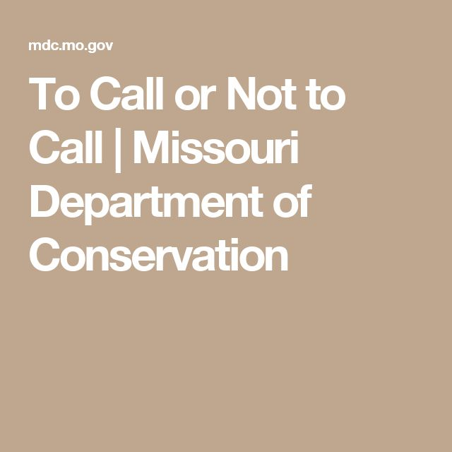 To Call or Not to Call | Missouri Department of Conservation