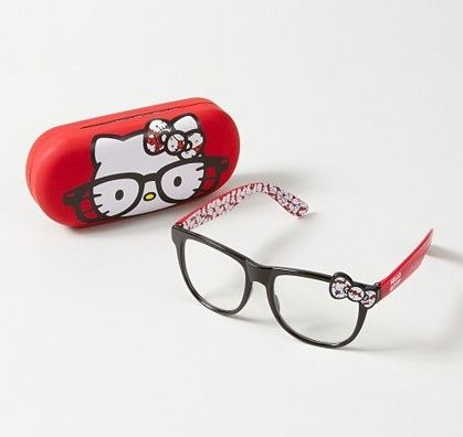 Hello Kitty glasses that are cute and nerdy. Cool looking geek glasses and eyewear all geeky girls will love.