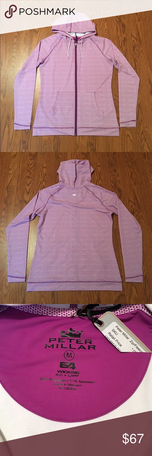 NWT Peter Millar E4 Performance Zip-Up hoodie Brand new purple polka-dot pattern Peter Millar E4 Performance full-zip up hoodie. Size M Peter Millar Tops Sweatshirts & Hoodies