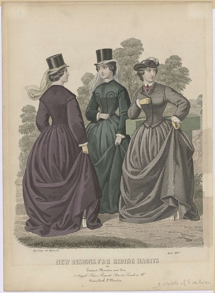Anonymous | Gazette of Fashion, New designs for riding habits, April 1862, Anonymous, Edward Minister & Son, Leroy, 1862 | Drie vrouwen in de nieuwste ontwerpen voor amazonekostuums of rijkostuums in april 1862. Twee dragen een hoge hoed met sluier. De ander een lage bolhoed met opstaande randen, versierd met kokarde(?) en struisveer. Prent uit het modetijdschrift The Gazette of Fashion, and Cutting-Room Compagnion (1847-19..?).