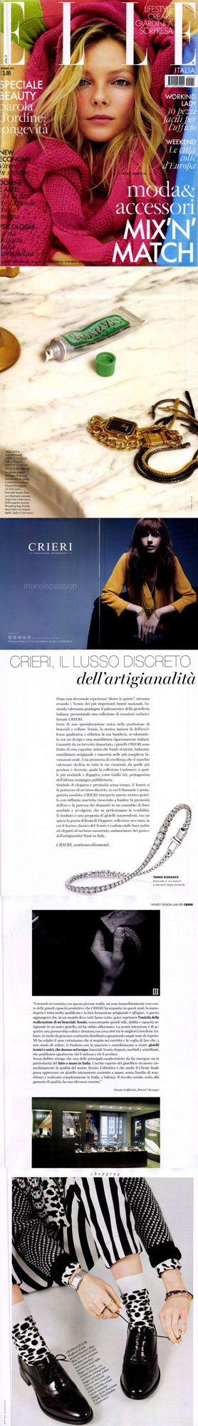 ❖Visto su ‪#ELLE – 01/11/2015❖ #Giallo121‪, #Color, #Elegance e #Spotlight collection #tennis #bracelets #trendy #jewelry #fashion #gold #valenza #crieri #vestiamodiamanti #tennispassion #tennisclub #glamour #chic #lifestyle
