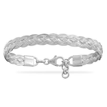 Sterling Silver 6.5 + 1 Inch Braided Cuff Bracelet Forza Jewelry. $65.99. Save 50% Off!