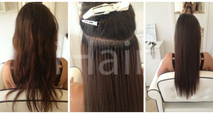 60 cm-es hajhosszabbítás keratinos hőillesztéses technikával 6-os színű barna hajfesték alkalmazásával