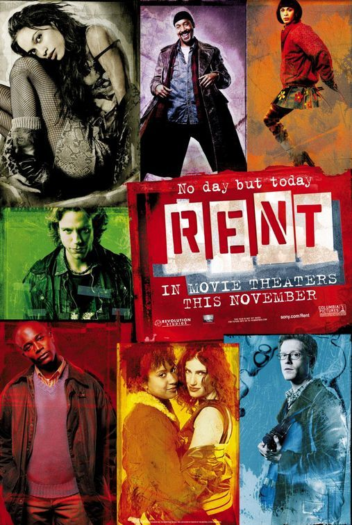 """""""The movie version of Jonathan Larson's broadway show, """"Rent."""" It's truly tragic that he never was able to see how far his musical has gone. Starring many of the original Broadway cast, it was a real treat to hear the performers who originally gave these characters life."""" --completely agree! No day but today <3 I thank my sister to introducing this movie to me, because it's my absolute favorite!"""