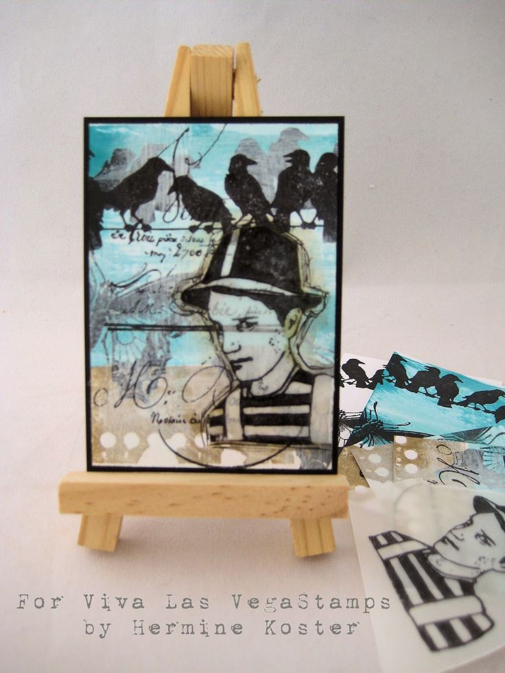 Birds on a wire ATC by Hermine Koster using #vivalasvegastamps #rubberstamps